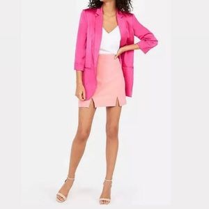 Bright Pink Notch Collar Boyfriend Blazer Jacket